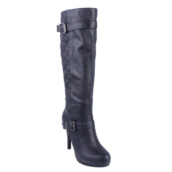 DBDK Women's 'Salti-2' Black Quilted Back Stiletto Boots