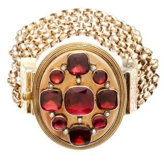 14k Yellow Gold Garnet Antique Estate Bracelet