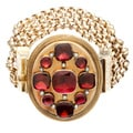14k Yellow Gold Garnet Antique Estate Bracelet