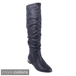DBDK Women's 'Chicago-01' Flat Bottom Knee-high Riding Boots