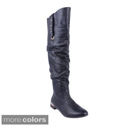 DBDK Women's 'CHICAGO-02' Flat Knee-high Riding Boots