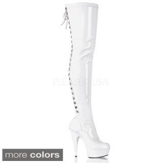 Pleaser Women's 'DELIGHT' Stiletto Heel Back Lace Platform Thigh-high Boots