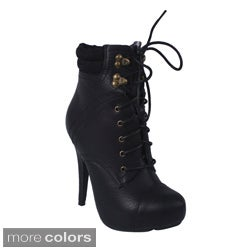 Blossom Women's 'SHERRY-1' Stiletto Lace-up Ankle Booties