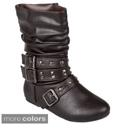 Journee Kid's 'Pearl' Buckle Detail Studded Boots