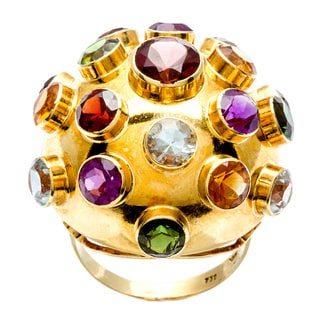 18k Yellow Gold Multi-gemstone 1960's Charm Dome Estate Ring