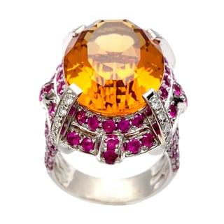 18k Gold Orange Topaz, Ruby and 2/5ct TDW Diamond Estate Ring (H-I, VS1-VS2)