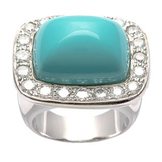 18k White Gold Turquoise and 1 2/5ct TDW Diamond Estate Ring (G-H, VS1-VS2)