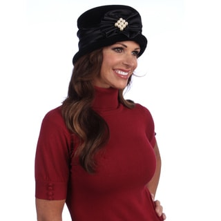Women's Black Dressy Velvet and Satin Packable Hat
