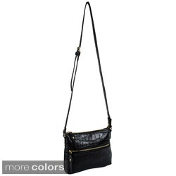 Parinda Ashen Textured Faux Leather Crossbody Bag