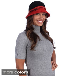 Swan Hat Women's Wool Felt Bucket Hat with Gross Grain Ribbon Band