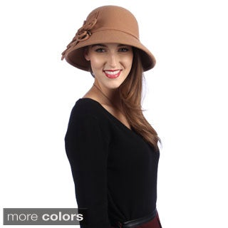 Swan Hat Women's 6-Stitching Leaves Bucket Wool Felt Hat