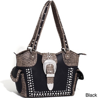 Dasein Western Rhinestone Studded Croc-embossed Shoulder Bag