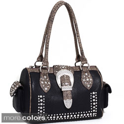 Dasein Western Rhinestone and Croc-embossed Structured Bag
