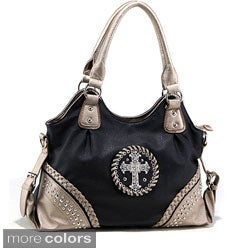 Dasein Western Rhinestone Cross Two-tone Shoulder Bag