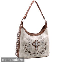 DaseinTwo-tone Rhinestone Cross Studded Shoulder Bag