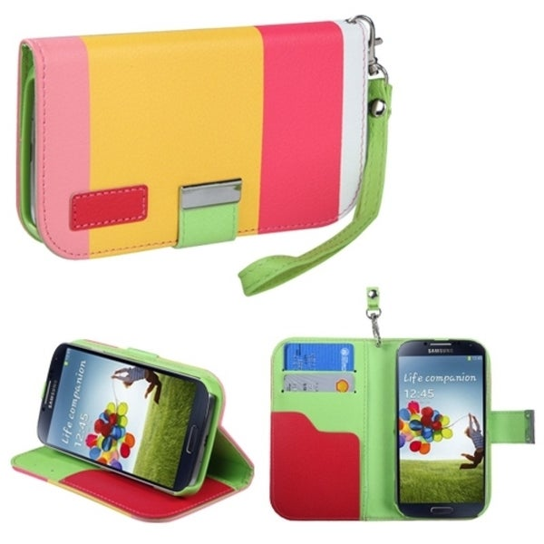 INSTEN Hot Pink/ Yellow/ Pink Wallet Phone Case Cover for Samsung Galaxy S 4 R970