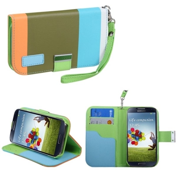 INSTEN Sky Blue/ Olive Green/ Light Orange Phone Case Cover for Samsung Galaxy S4