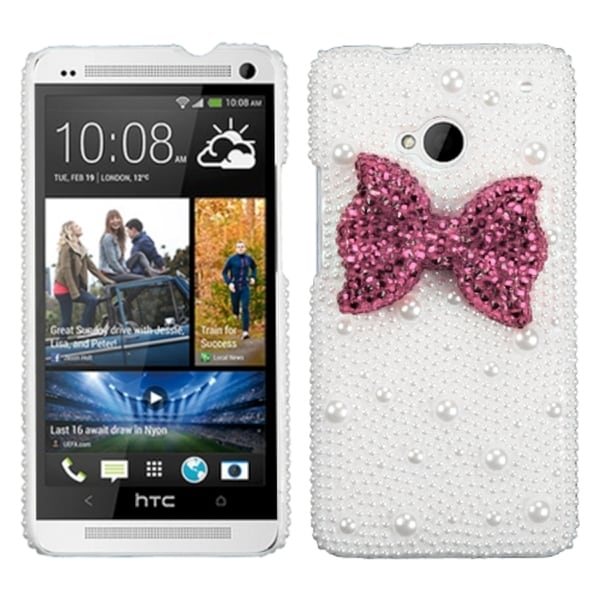 INSTEN Hot Pink Bow Pearl 3D Diamante Phone Case Cover for HTC One/ M7
