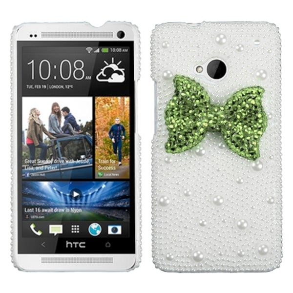 INSTEN Light Green Bow Pearl 3D Diamante Phone Case Cover for HTC One/ M7