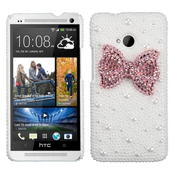 INSTEN Pink Bow Pearl 3D Diamante Phone Case Cover for HTC One/ M7