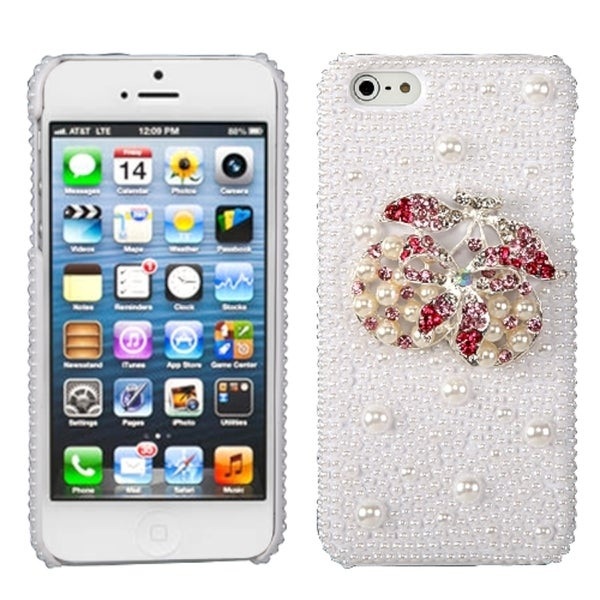 INSTEN Delicious Cherry/ Pearl/ Diamante Phone Case Cover for Apple iPhone 5
