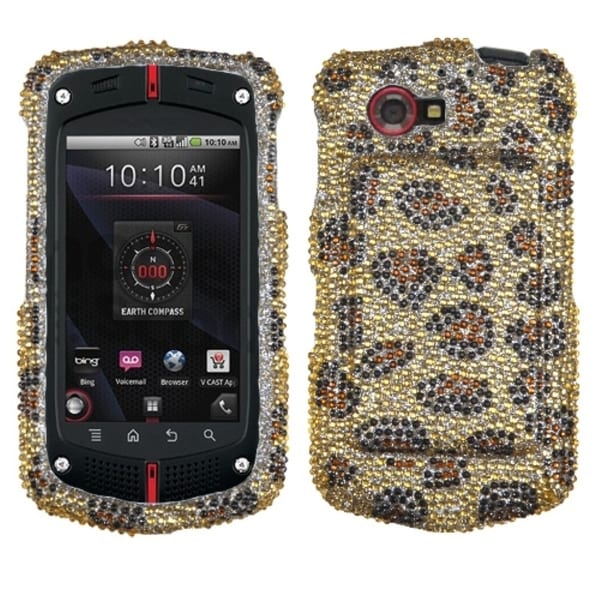 INSTEN Leopard Skin/ Camel Diamante Phone Case Cover for Casio G'zOne Commando 4G