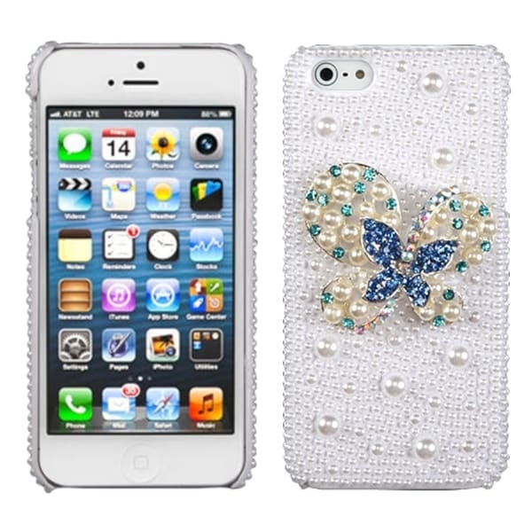 INSTEN Blue Dot/ Butterfly/ Pearl/ Diamante Phone Case Cover for Apple iPhone 5