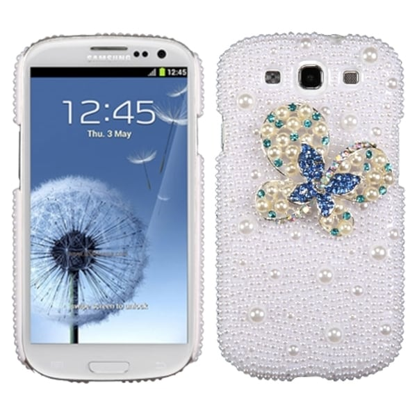 INSTEN Blue Dot/ Butterfly/ Pearl Diamante Phone Case Cover for Samsung Galaxy S3