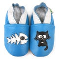 Cat and Fish Soft Sole Leather Baby Shoes