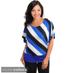 Stanzino Women's Plus Striped Banded Hem Top