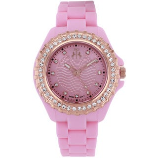 Jivago Women's Cherie Rose Goldtone and Pink Silicon Strap Watch