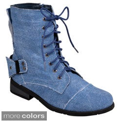 Hailey Jeans Co. Women's 'Zafrina' Lace-up Buckle Detail Boots