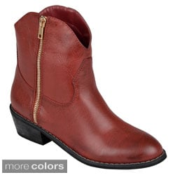 Journee Collection Womens 'Shadee' Almond Toe Zipper Detail Ankle Boots