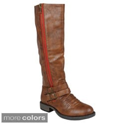 Journee Collection Women's 'Lady' Side-zipper Buckle Knee-high Riding Boot