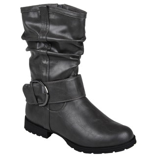 Journee Collection Women's 'Keli' Buckle-Strap Slouch Motorcycle Ankle Boots