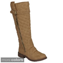 Journee Collection Women's 'Gonzo' Knee-High Quilted Buckle-Strap Riding Boots