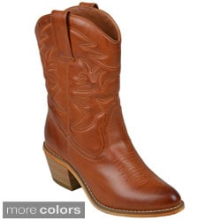 Journee Collection Women's 'Fame' Topstitched Cowboy Boots