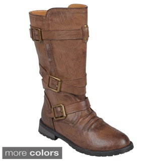 Journee Collection Women's 'Faith' Round Toe Buckle Detail Boots