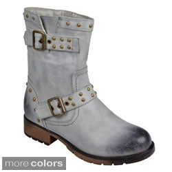 Journee Collection Women's 'Aquata' Studded Buckle-Strap Motorcycle Boots