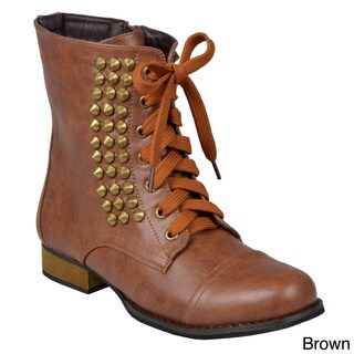 Journee Collection Women's 'Aloha' Studded Lace-Up Ankle Combat Boots