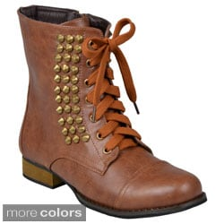 Journee Collection Women's 'Aloha' Studded Lace-up Boots