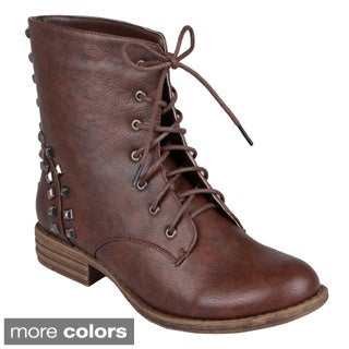 Hailey Jeans Co. Women's 'Alba' Lace-Up Studded Ankle Combat Boots