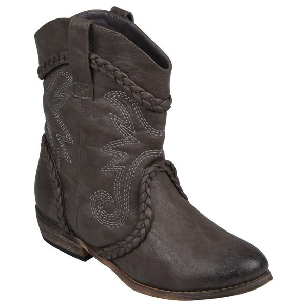 Journee Collection Women's 'Weezy' Distressed Topstitched Cowboy Ankle Boots