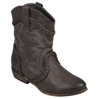 Journee Collection Women's 'Weezy' Distressed Topstitched Cowboy Boots