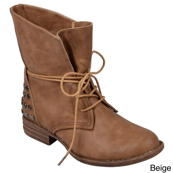 Journee Collection Women's 'Trust' Lace-Up Studded Ankle Boots