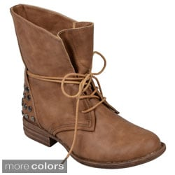 Journee Collection Women's 'Trust' Lace-up Round Toe Boots