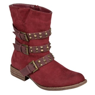 Hailey Jeans Co Womens 'Tate' Studded Buckle-Strap Motorcycle Boots