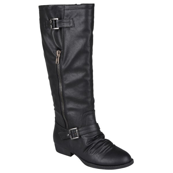 Journee Collection Womens 'Stella' Knee-High Buckle-Strap Zipper Detail Riding Boots