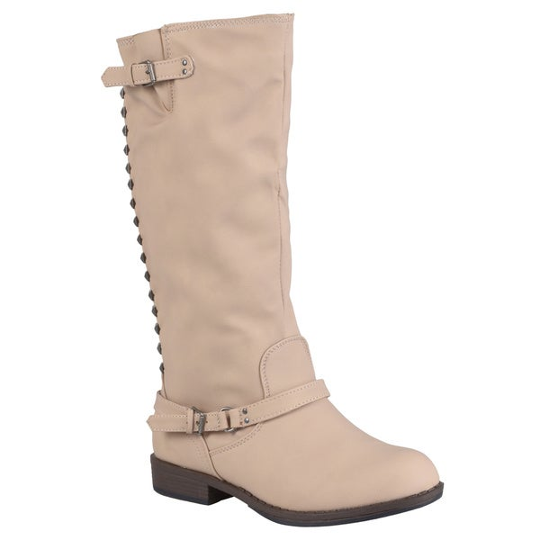 Hailey Jeans Co. Women's 'Nemo' Mid-Calf Studded Buckle-Strap Riding Boot