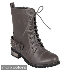 Hailey Jeans Co. Women's 'Mason' Lace-Up Buckle-Strap Studded Combat Boots